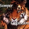 "aureantes: Tiger with impassive face and caption ""Semper obfuscare"" (semper_obfuscare)"