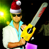 pensnest: Lance Bass wearing Santa hat, with chainsaw (Lance badass Christmas)