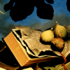 mjules: Three figs on an open book. (Fruitful Reading)