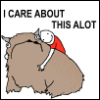 "deird1: a fictional creature called an Alot, being hugged by someone, with text ""I care about this alot"" (Alot)"