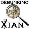 "debunkingxian: Magnifying glass over a labarum; words ""Debunking Xian."" (Debunking Xian)"