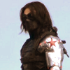 silveraspen: the winter soldier in full gear against a blue sky background (winter soldier: masked under the sky)