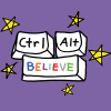 plum177: Mauve background. Three computer keys with the words 'Ctrl', 'Alt' and 'Believe' on them. Surrounded by stars. (Ctrl-Alt-Believe)