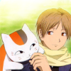 amihan: natsume takashi with madara in nyanko sensei form on his shoulder ([natsume yuujinchou] natsume & nyanko-se)