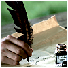 amaresu: hand writing with a feather quill on partchment with inkwell nearby (quill and ink)
