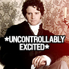 zephre: Colin Firth as sober Mr. Darcy with text: *uncontrollably excited* (P&P: darcy excited)