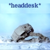 zephre: AT-AT in snow on Hoth with text: *headdesk* (Star Wars: headdesk AT-AT)
