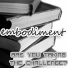 embodiment_dw: A stack of books with black covers, with grey text reading 'embodiment - are you taking the challenge?' (default)