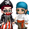 acts_of_gord: Gordon and Alyx as pirates, rendered in Gaia's pixel doll maker. (Halloween 2013)