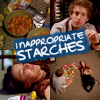 meloukhia: Stills from 'Dollhouse,' with 'inappropriate starches' stenciled in the middle (Inappropriate starches)