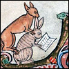 mayhap: medieval manuscript fox reads over a rabbit's shoulder (shoulder reading)