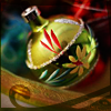 skieswideopen: A green-and-gold Christmas ornament (Christmas)