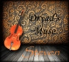 """the_cello_man: A cello leaning against a gold and gray swirly wall and gray wooden floorboards, reading """"Dryad's Muse"""" and """"Steven"""" (dryad's muse)"""