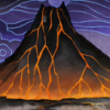 kaberett: Stylized volcano against a stormy sky, with streams of lava running down its sides. (volcano)