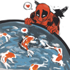 cyprinella: Deadpool gazing lovingly at a pond of koi (deadpool with fish)