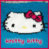 knittykat: Hello Kitty face, knitted by me. (knitty kitty)