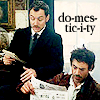 "elaineofshalott: Watson and Holmes from 2009 movie, reading letters and newspaper, with text ""domesticity"". (morning paper 2)"