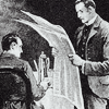 elaineofshalott: Black-and-white drawing of Sherlock Holmes and Dr. Watson at breakfast, with newspaper. (morning paper)