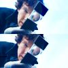 daphnie_1: Sherlock with his magnifying glass against a blue sky. (Romana 2)