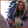 brightknightie: Rebecca in medieval flashback, on horseback, holding her sword (Other Fandom Highlander Again)