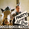 "purpleyin: Walter Bishop and Gene the cow with caption ""Party til the cows come home"""" (party)"