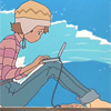 dredsama: Digimon anime character Sora sitting on a window ledge with a laptop propped up on her knees in front of her (Default)