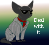 "seventhbard: Drawing of a grey Chihuahua in a pinstripe suit with shades on a gradient background. Text reads ""Deal with it."" (LDPinstripes)"