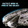 "justice_turtle: Millennium Falcon captioned ""Fastest hunk of junk in the galaxy"" (fastest hunk of junk)"