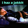 "justice_turtle: MacGyver asleep hugging leather jacket, text ""I has a jacket"" (i has a jakkit)"