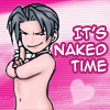 "afuna: Naked chibi Edgeworth. Text: ""It's naked time"" (naked time)"