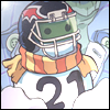 afuna: Snowman wearing a scarf and a football helmet (crash test dummy)