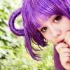 hippyjolteon: Purple-haired girl peeps out from the corner of the frame. (Ratatta Girl)