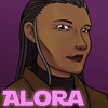 random_xtras: Portrait of a strong woman with dark skin and greying hair in many braids. (Alora)