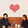anoyo: John & Sherlock at a booth with a heart in the background. (sherlock john/sherlock)