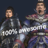 "turing_machine: Nobunaga from Samurai Warriors standing next to Cao Cao from Dynasty Warriors, overlaid with the text ""100% awesome"" (cao cao, nobunaga)"