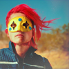 anatratrope: Gerard standing defiantly, yellow mask on with red paint under his jaw (Gerard)