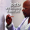 scrollgirl: benjamin sisko in vision writing on wall of mental institute; text: brb writing fanfic (ds9 sisko writing)