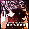 "apollymi: Duo, lowering sunglasses to look out, text reads ""Don't fear the reaper"" (GW**Duo: Don't fear the reaper)"