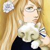hustru: Blond woman with a cat on her arm staring into the camera with a neutral expression that could be read as disapproving (with Finkitty)