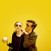 foursweatervests: Mazzers and Kazzers, hipster glasses, Starbucks coffee, yellow background (I don't bust back 'cause I shoot first |)