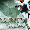 """mjules: Altair leaping off a building, a bird's shadow behind him, with the text: """"Nothing is true. Everything is permitted."""" (AC - Altair: Flying Text)"""