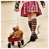 alee_grrl: Girl wearing plaid skirt, stripey socks and bracers pulling red wagon with teddy bear (quirky)