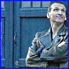 alee_grrl: 9th Doctor in front of the TARDIS arms crossed, looking up and smirking (dr who Smug)