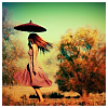 alee_grrl: Girl in a red sundress holding a parasol and walking through the forest (Whimsy)