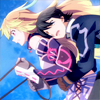 inarticulate: Milla holding the reins while Jude clings to her waist, from Tales of Xillia. (milla is driving)