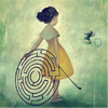 beachlass: girl with a hoop shaped as a labyrinth (labyrinth hoop)