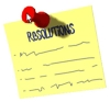 resolving: Resolutions on a sticky note, pinned up. (resolutions)