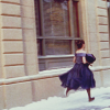 bell: rory gilmore running in the snow in a fancy dress (sailor moon skirts)