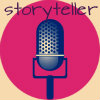 "fleurrochard: a microphone in front of a big red circle with the word ""storyteller"" above it (storyteller)"