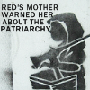 "outlineofash: Red Riding Hood pulls a gun out of her basket. Overlaid text reads, ""Red's mother warned her about the patriarchy."" (Text - Red's Armed)"